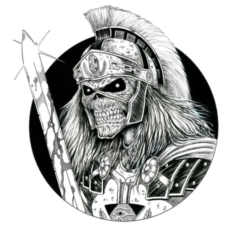 Legion of the Dead Logo, Armored skeletal top quarter enclosed in a circle with sword and horse brush helmet protruding from the circle.